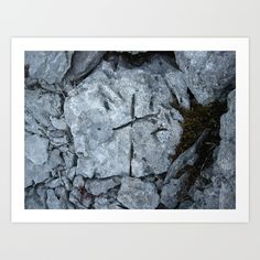 The cross Art Print - On Burren limestone pavement, Co.