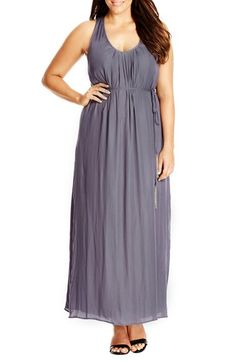 Free shipping and returns on City Chic 'Knot Back' Maxi Dress (Plus Size) at Nordstrom.com. A gathered and twisted racerback shows off sun-warmed shoulders atop a flowy woven maxi dress with soft pleats at the scooped neckline to enhance the billowy style. A slender tie tipped with chain tassels defines the waist.