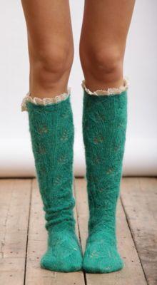 ruffle layered knit socks