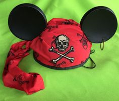 Mickey Mouse Ears Hat Adult Pirate Peter Pan Hook Disney-Family of Mickey Pirates for Halloween.