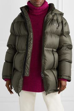Acne Studios Oversized Hooded Quilted Shell Down Jacket - Army green , Stockholm Street Style, Paris Street, Milan Fashion Weeks, London Fashion, Oversized Jacket, Puffy Jacket, Down Coat, Acne Studios, Army Green