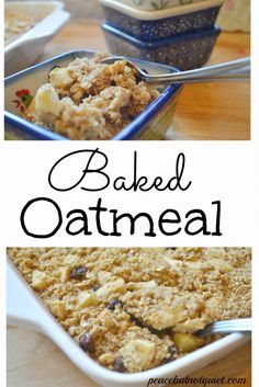 A simple, delicious baked oatmeal recipe -- make it hot that morning or make ahead and reheat. It's tasty either way!