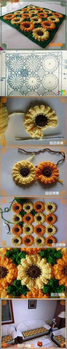 sunflower rug 1 Wonderful DIY Crochet Sunflower Rug: would make a cute pot holder. Crochet Diy, Crochet Home Decor, Crochet Pillow, Love Crochet, Crochet Motif, Crochet Designs, Crochet Crafts, Crochet Stitches, Crochet Flowers