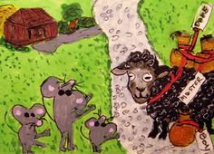 ACEO ATC Baa Baa Black Sheep Mousery Rhyme mice wool original whimsical cartoon #whimsical   #aceo #art #eBay #Baa-Baa-Black-Sheep #mice