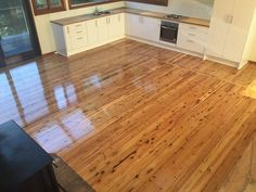 Cypress Pine Flooring finished with Gloss Solvent Based Polyurethane