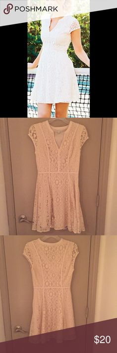 LC Lauren Conrad Ivory Lace Dress In perfect condition & only worn once! This ivory lace dress would be perfect for bridal showers or your rehearsal dinner! Also cute for spring parties! LC Lauren Conrad Dresses