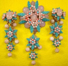 Stanley Hagler NYC brooch and earring parure $ 625