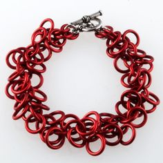 red chainmaille bracelet shaggy loops