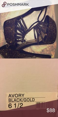 Black and Gold jeweled heels Steve Madden Black and Gold jeweled heels (Beautiful Sparkle) Steve Madden Shoes Heels