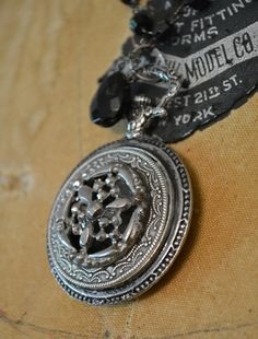 Upcycled Necklace  Silver Victorian button by TheGildedGypsies, $78.00