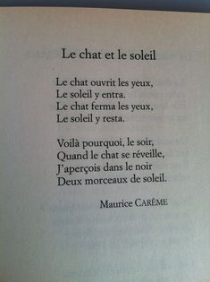 Franch Quotes : Le Chat et le Soleil, Maurice Carême - The Love Quotes French Words Quotes, Basic French Words, French Poems, French Phrases, How To Speak French, Learn French, Spanish Quotes, French Language Basics, French Language Lessons