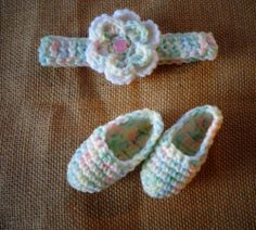 Newborn Baby 3-6 mo. Crochet Headband & Booties  Multi Color Photo Prop Handmade