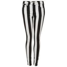 TOPSHOP MOTO Stripe Leigh Jeans (£33) ❤ liked on Polyvore featuring jeans, pants, bottoms, calças, stripe skinny jeans, stripe jeans, striped skinny jeans, topshop jeans and skinny leg jeans