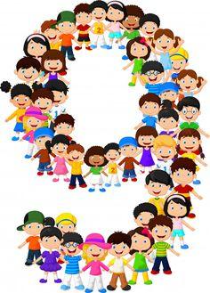 Little kids form number nine | Premium Vector #Freepik #vector #background Award Template, School Cartoon, School Clipart, School Accessories, Funny Character, Alice In Wonderland Party, Music For Kids, Alphabet And Numbers, Cartoon Pics