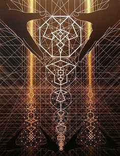 Art by Joma Sipe. The architecture of GOD. The universe is created by a consciousness which manifests in physical reality through a blueprint that we call Sacred Geometry which repeats over and over giving the illusion of linear time. Sacred Architecture, Architecture Tattoo, Arte Pink Floyd, Psy Art, Mystique, Visionary Art, Sacred Art, Sacred Geometry Art, Flower Of Life