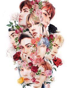 EXO Fanart ❤️ This is amazing Exo Xiumin, Kpop Exo, Baekhyun Fanart, Kpop Fanart, Shinee, Jonghyun, Exo For Life, L Wallpaper, Exo Anime