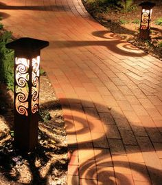 Decorative steel bollard lights - contemporary - outdoor lighting - indianapolis - by Outdoor Lighting Bollard Lighting, Pathway Lighting, Path Lights, Landscape Lighting, Solar Lights, Lighting Ideas, Lighting Design, Yard Lighting, Lighting Stores