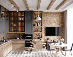 death star kitchen on Behance Loft Kitchen, Kitchen Room Design, Modern Kitchen Design, Home Decor Kitchen, Interior Design Kitchen, Home Kitchens, Interior Plants, Apartment Interior, Apartment Design