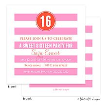 Preppy Pink Stripes and Orange Dot sweet 16 Party Invite