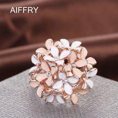 خواتم 2016 مجوهرات الوردي زهرة القرنفل aiffry الأزياء كريستال نمساوي المينا روز الذهب خواتم للنساء anillos R2088