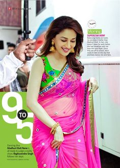Even Madhuri Dixit wore the green floral printed blouse which is the latest in fashion for saree. Bollywood Designer Sarees, Bollywood Saree, Bollywood Fashion, Bollywood Actress, Saree Fashion, Indian Bollywood, Saris, Sonam Kapoor, Deepika Padukone