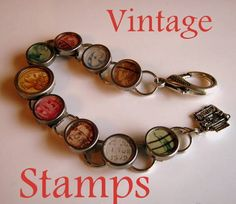 Vintage stamps bracelet -- I'm totally going to make one of these. #jewelry #fashion #diy #vintage