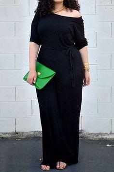 Casual Jewel Neck High Waist Short Sleeve Black Dress For Women