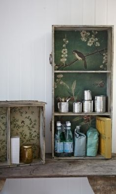 Wallpapered drawer - Plümo We have some drawers perfect for this at Fields of Treasure LLC!
