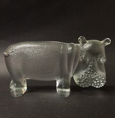 Kosta Boda Swedish Art Glass Hippo by VintageCharacter on Etsy