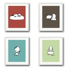 """Set of 4 Art Prints - """"Puppy Love"""" 