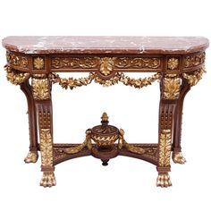 19th Century Louis XVI Style Console with Red Languedoc Marble Top | From a unique collection of antique and modern console tables at http://www.1stdibs.com/furniture/tables/console-tables/