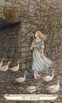 Justice - The Fairy Tale Tarot by Lisa Hunt.  Had to pin it in Dream Art, because I have dreamed so often of strange passageways....