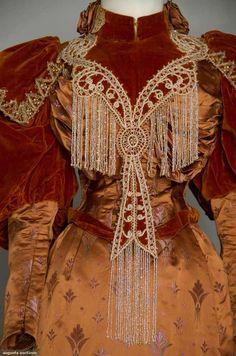 Late 1890s brocade dinner dress - lots of detail!