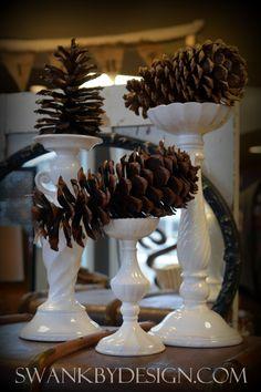 Winter decor: pinecones | swankbydesign.com #swankbydesign #winterdecor #pinecones