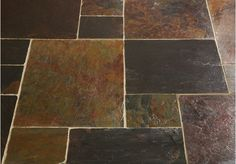 A beautifully varied slate tile, full of rich red, purple and copper tones, the Peacock Slate also has yellow and green shades to lighten and add further interest to the tiles. The surface has been left with a riven finish and the tiles have a sawn edge. Tiles, Slate Flooring, Slate Tile, Home Remodeling, Slate Tile Floor, Cottage Kitchen, Flooring, Traditional Kitchen, Slate