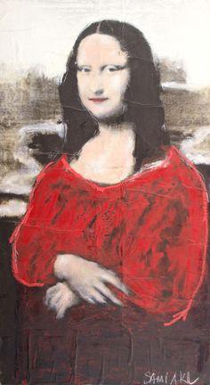 """SAMI AKL - (1959)    Título: """"Monalisa""""  Técnica: técnica mista e colagem sobre tela  Medidas: 90 x 50 cm  Assinatura: canto inferior direito e dorso  Data/Local: 2008"""