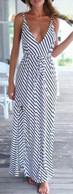 striped v neck maxi