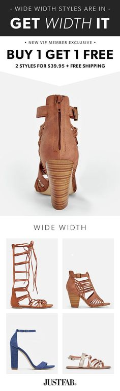 Wide Width Styles are In - Get Your First 2 Styles for Only $39.95! Make sure you're up to date on the hottest new trends by signing up as a JustFab VIP. You'll enjoy a new boutique of personalized styles each month, as well as exclusive pricing, early access to sales & free shipping on orders over $39. Don't think you'll need something new every month? No problem – click 'Skip The Month' in your account by the 5th and you won't be charged. Take the Style Quiz today to get this exclusive…