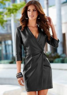 Faux leather coat dress from VENUS women's swimwear and sexy clothing. Order Faux leather coat dress for women from the online catalog or Sexy Outfits, Outfits Mujer, Sexy Dresses, Fashion Dresses, Outfit Vestidos, Vestidos Sexy, Leder Outfits, Black Leather Dresses, Leather Skirts