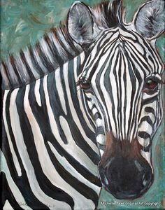 Zebra Painting by Michelle Lake  Original acrylic by grafittigirl, $75.00