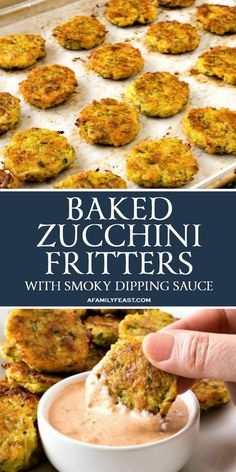 These Baked Zucchini Fritters with Smoky Dipping Sauce are a kid-friendly snack . - These Baked Zucchini Fritters with Smoky Dipping Sauce are a kid-friendly snack for after school, o - Baked Zucchini Fritters, Bake Zucchini, Zucchini Bites, Zucchini Patties, Veggie Fritters, Fried Zucchini, Potato Fritters, Zucchini Balls Recipe, Broccoli Fritters