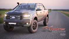 Ford Ranger face-lift rendered in Softimage with redshift renderer. Matte green Ranger wrap with design accents.