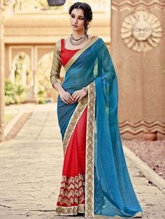 Fascinating red and light blue color georgette and chiffon saree designed with stone work. Item Code: SANA46027 http://www.bharatplaza.com/new-arrivals/sarees.html