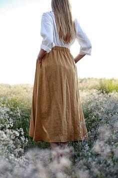 Linen A line Maxi skirt Summer Skirts, Maxi Skirts, Short Skirts, Denim Skirt Outfits, Outfit Jeans, Linen Skirt, Linen Dresses, Tela Hindu, Skirts With Pockets