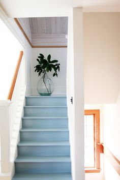 Sky blue stairs in a turn of the century Portland home. Design by Lisa Staton. Painted Staircases, Painted Stairs, Spiral Staircases, Cottage Stairs, House Stairs, Attic Stairs, Basement Stairs, Foyers, Concrete Stairs