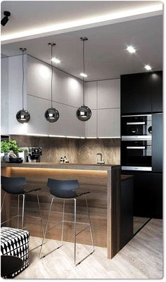 35 Small Kitchen Designs for Kitchen Remodel. Modern wooden shelf recommendation for narrow k. - 35 Small Kitchen Designs for Kitchen Remodel. Modern wooden shelf recommendation for narrow kitchen - Small Kitchen Plans, Narrow Kitchen, Wooden Kitchen, Small Space Kitchen, Small Spaces, Interior Modern, Home Interior, Kitchen Interior, Modern Luxury