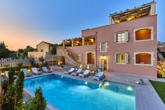 Villa Rouga - Authentic Crete, Villas in Crete, Holiday Specialists Heated Pool, Crete, Villas, Mansions, Luxury, House Styles, Bedrooms, Holiday, Home Decor