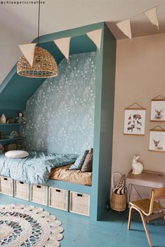 We love Chloe's built-in bed and teeny desk space! Her clever use of baskets, shelves, and a Luggy in the corner provide plenty of ample storage in a small bedroom. Head to olliella.com and take a peek at our range of Bags & Baskets. 📸. @chloegetscreative  Baby Bedroom, Girls Bedroom, Bedroom Decor, Built In Beds For Kids, Attic Bed, Bed Nook, Big Girl Rooms, Guest Bedrooms, New Room