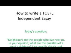 Recent TOEFL Essay Evaluations