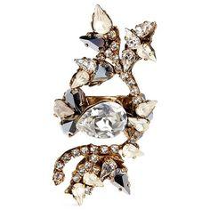 Erickson Beamon 'Swan Lake' Swarovski crystal statement ring ($535) ❤ liked on Polyvore featuring jewelry, rings, white, 24 karat gold ring, white ring, 24k jewelry, white jewelry and 24k ring